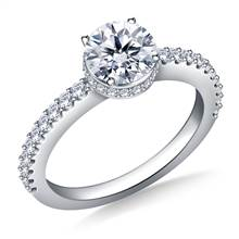Prong & Pave Set Diamond Ring In 18K White Gold | B2C Jewels