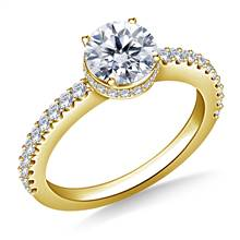 Prong & Pave Set Diamond Ring In 18K Yellow Gold | B2C Jewels