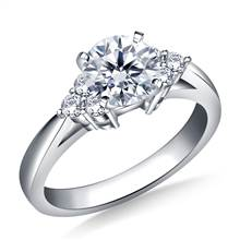 Prong Set Diamond Accent Engagement Ring In 18K White Gold (1/6 cttw.) | B2C Jewels