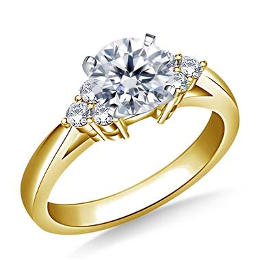 Prong Set Diamond Accent Engagement Ring In 18K Yellow Gold (1/6 cttw.)