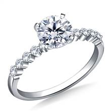 Prong Set Diamond Engagement Ring in 18K White Gold (1/5 cttw) | B2C Jewels