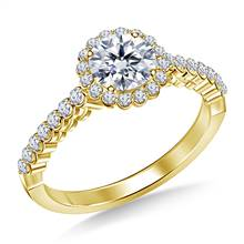 Prong Set Diamond Floral Halo Engagement Ring in 14K Yellow Gold   B2C Jewels
