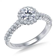 Prong Set Diamond Floral Halo Engagement Ring in 18K White Gold | B2C Jewels