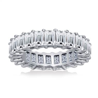 Prong Set Emerald Cut Diamond Eternity Ring in Platinum (5.00 - 6.00 cttw.)