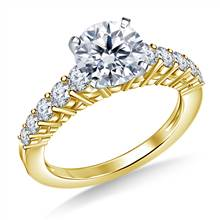Prong Set Graduated Diamond Engagement Ring in 14K Yellow Gold (3/4 cttw) | B2C Jewels