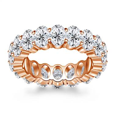 Prong Set Oval Cut Diamond Adorned Eternity Ring in 14K Rose Gold (8.00 - 9.50 cttw.)