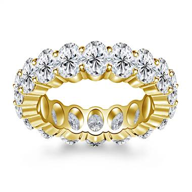 Prong Set Oval Cut Diamond Adorned Eternity Ring in 14K Yellow Gold (8.00 - 9.50 cttw.)