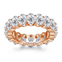 Prong Set Oval Cut Diamond Adorned Eternity Ring in 18K Rose Gold (8.00 - 9.50 cttw.) | B2C Jewels