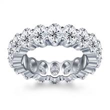 Prong Set Oval Cut Diamond Adorned Eternity Ring in 18K White Gold (8.00 - 9.50 cttw.) | B2C Jewels
