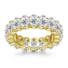 Prong Set Oval Cut Diamond Adorned Eternity Ring in 18K Yellow Gold (8.00 - 9.50 cttw.) | B2C Jewels