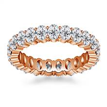 Prong Set Oval Cut Diamond Eternity Ring in 18K Rose Gold (4.20 - 5.00 cttw.) | B2C Jewels