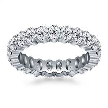 Prong Set Oval Cut Diamond Eternity Ring in 18K White Gold (4.20 - 5.00 cttw.) | B2C Jewels