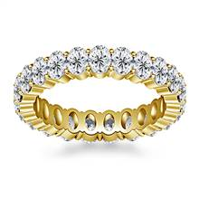 Prong Set Oval Cut Diamond Eternity Ring in 18K Yellow Gold (4.20 - 5.00 cttw.) | B2C Jewels