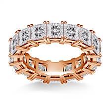 Prong Set Princess Cut Diamond Eternity Ring in 18K Rose Gold (6.40 - 7.60 cttw.) | B2C Jewels