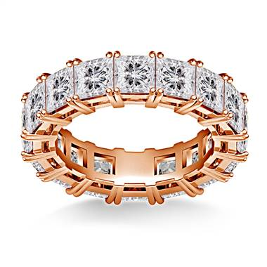 Prong Set Princess Cut Diamond Eternity Ring in 18K Rose Gold (6.40 - 7.60 cttw.)