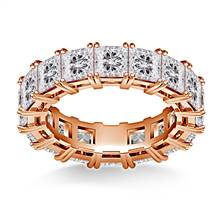 Prong Set Princess Cut Diamond Eternity Ring in 18K Rose Gold (6.40 - 7.60 cttw.) | B2C Jewels