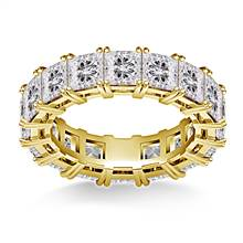 Prong Set Princess Cut Diamond Eternity Ring in 18K Yellow Gold (6.40 - 7.60 cttw.)   B2C Jewels
