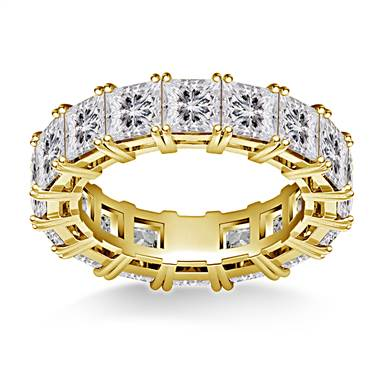 Prong Set Princess Cut Diamond Eternity Ring in 18K Yellow Gold (6.40 - 7.60 cttw.)