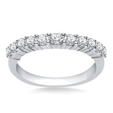 Prong Set Round Diamond Band Crafted In Platinum