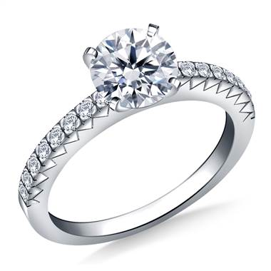 Prong Set Round Diamond Engagement Ring in 18K White Gold (1/6 cttw.)