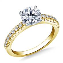 Prong Set Round Diamond Engagement Ring in 18K Yellow Gold (1/6 cttw.) | B2C Jewels