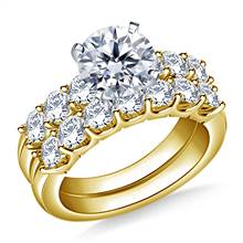 Prong Set Round Diamond Ring with Matching Band in 18K Yellow Gold (1 1/3 cttw.) | B2C Jewels