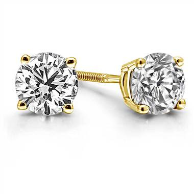 Prong Set Round Diamond Stud Earrings in 14K Yellow Gold