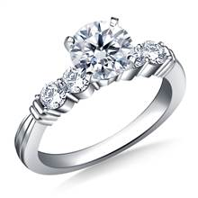 Prong Set with Tapered Shank Diamond Engagement Ring in 14K White Gold (1/2 cttw.) | B2C Jewels