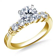 Prong Set with Tapered Shank Diamond Engagement Ring in 14K Yellow Gold (1/2 cttw.) | B2C Jewels
