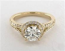 Recessed Halo Split Shank Pave .49ctw Engagement Ring in 14K Yellow Gold 2.2mm Width Band (Setting Price) | James Allen