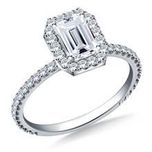 Rectangular Halo Engagement Ring in 18K White Gold | B2C Jewels