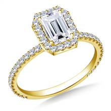 Rectangular Halo Engagement Ring in 18K Yellow Gold | B2C Jewels