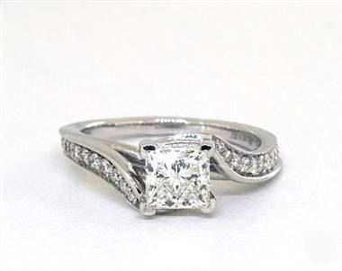 Regal Bypass Diamond Pave Engagement Ring in 14K White Gold 2mm Width Band (Setting Price)