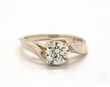 Regal Contoured Bypass Solitaire Engagement Ring in 18K Yellow Gold 4mm Width Band (Setting Price)