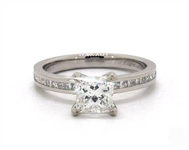 Regal Princess Channel (.30ctw) Engagement Ring in 4mm 14K White Gold (Setting Price)