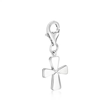 Religious Symbolic Flat Cross Charm in Sterling Silver
