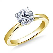 Reverse Tapered Solitaire Diamond Engagement Ring in 18K Yellow Gold (1.9 mm) | B2C Jewels