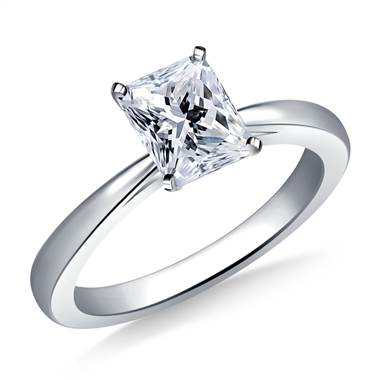 Reverse Tapered Solitaire Diamond Engagement Ring in Platinum (1.9 mm)