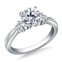 Ridged Shank Diamond Engagement Ring in 14K White Gold (1/5 cttw.) | B2C Jewels