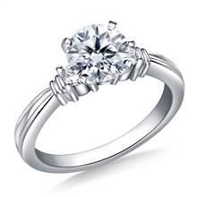 Ridged Shank Diamond Engagement Ring in 18K White Gold (1/5 cttw.) | B2C Jewels