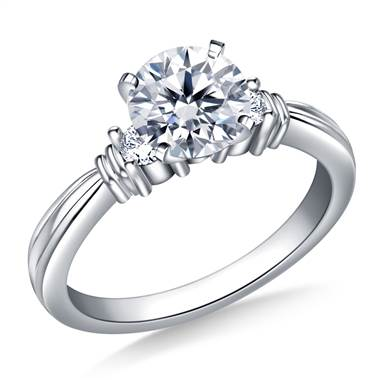 Ridged Shank Diamond Engagement Ring in Platinum (1/5 cttw.)