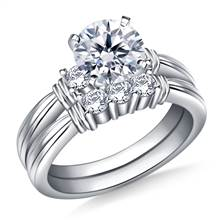 Ridged Shank Diamond Ring with Matching Band in 14K White Gold (1/2 cttw.) | B2C Jewels