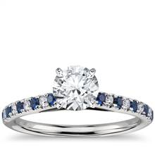 Riviera Micropave Sapphire and Diamond Engagement Ring in Platinum | Blue Nile