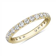 Riviera Pave Diamond Eternity Ring in 18k Yellow Gold (1 ct. tw.)   Blue Nile
