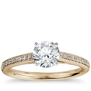 Riviera Pave Heirloom Cathedral Diamond Engagement Ring in 18k Yellow Gold (1/10 ct. tw.)