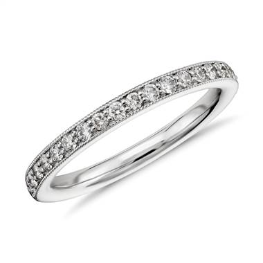 Riviera Pave Heirloom Diamond Ring in 14k White Gold (1/4 ct. tw.)