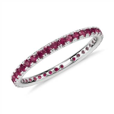 Riviera Pave Ruby Eternity Ring in 18k White Gold (1.5mm)