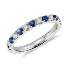 Riviera Pave Sapphire and Diamond Ring in Platinum (2.2mm) | Blue Nile