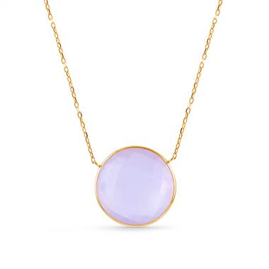 Rose Quartz Gemstone Round Bezel Pendant Necklace in 14K Yellow Gold (20 mm)
