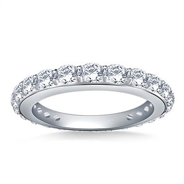 Round Diamond Adorned Eternity Ring in 14K White Gold (1.10 - 1.25 cttw.)